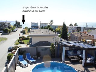 Ocean View 3 Bedroom Home With Pool! Steps to the Beach. Monthly rental only.