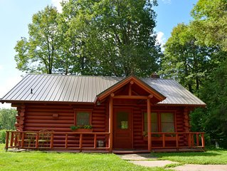 Private, modern,  log cabin home on twenty acres near St. Croix State Park.