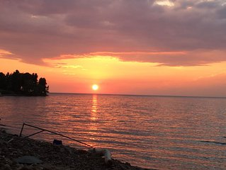 Lake Ontario, Sodus. Amazing Sunsets!  Newly updated, water access, rock beach.