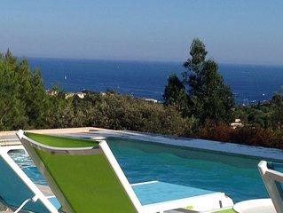 1,8km de la plage : Villa avec vue mer, piscine chauffée 28°C et jardins privés