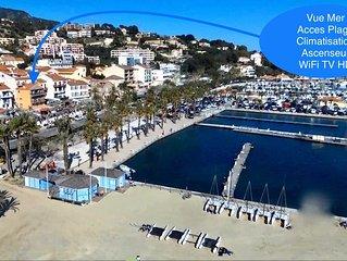 Superbe T3 centre ville, en premiere ligne mer , climatise vue port et mer!