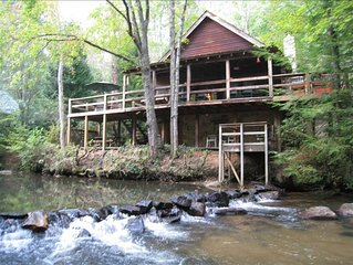 **Waterfront Cabin**on Trout Stream W/ **Hot Tub, & Internet**