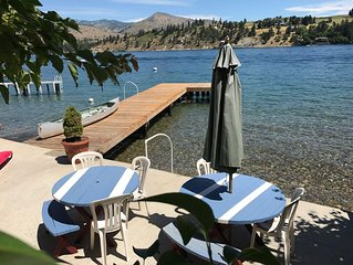 2 Historic Cabins Right on Lake Chelan.  Lowbank with dock; sleeps 15.