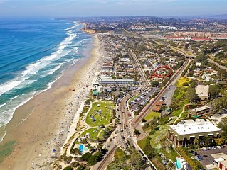 Across the street from the beach in Del Mar!  Walk to restaurants, park, shops