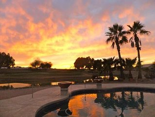 Expansive Mountain Sunset View over Pool, Pond, and 12th Green