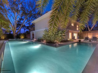 Huge Private Pool, Hot Tub, Marsh Views, Short Walk to Beach, 3 King Bed