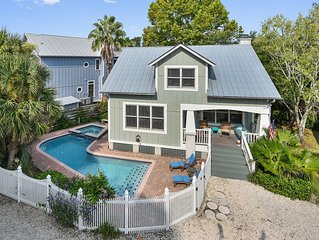 St Simons Coolest Beach Bungalow with Private Pool/Hot Tub!