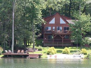 Lakefront, Pontoon for rent,  Hot tub ,Game Room, Fire pit, huge  deck, kayaks
