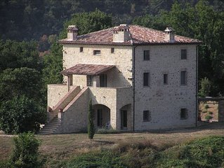Restored Umbrian Stone Farmhouse with Pool and Panoramic Views
