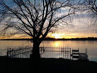 Lakehouse on lake in
