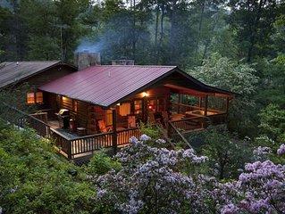 Cedar Log Cabin <10 mins to Main St, 2 Fireplaces, Fast Sat Wifi, Hot Tub