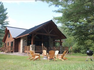 Luxury Lakefront Log Home on the Waupaca Chain O' Lakes