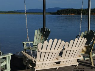 Level lake access. Lake James waterfront home. Private dock & NC mountain views