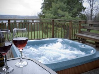 Private Lake View Home on 7 Acres with Hot Tub, on Wine Trail