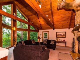 Extraordinary Log Home w/Breathtaking Views, 2 Fireplaces, Pool Table, Fire Pit