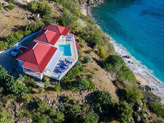 Picturesque Villa W/ Beautiful Sunset Views Directly Over Shell Beach & Gustavia