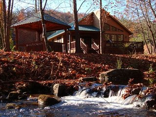 Cabin & Hot Tub on Rushing Trout Stream in the Great Smokey Mountains