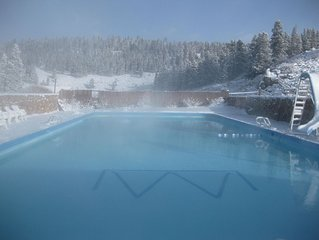 Geothermal Ranch Lodge with private Hot Springs Pool, Sleeps 25-50.