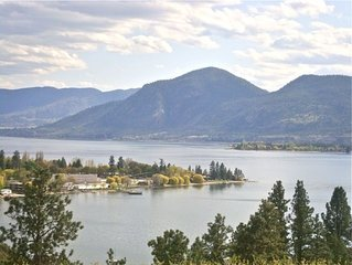Panoramic view of lake Okanagan and certified organic farm