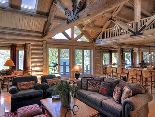 'The Grand' Big Bear Luxury Lakefront Log Home-Private Dock.