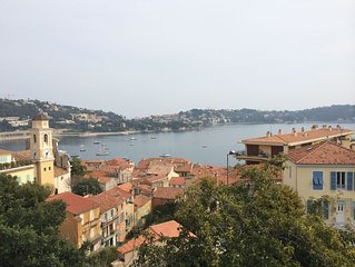 Elegant Villefranche apartment with panoramic view of bay, sea, and village