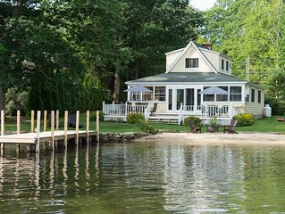 Waterfront Winnipesaukee Lake House with PRIVATE Beach and 38 foot Dock!