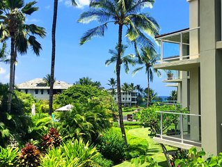 Lush, peaceful, Vista Waikoloa B201! Walk to the beach, sunset, dinner & shops!