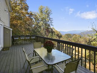 10 mins to DT Asheville,Gorgeous Views, Fireplace, Lg Deck, Wifi, Fully Stocked