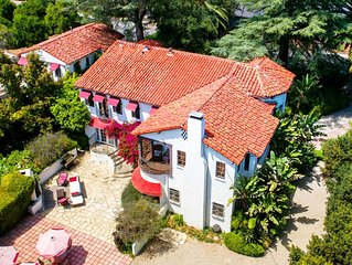 Grand Spanish Mansion with Game room, spa, dipping pool on an Alpaca Farm