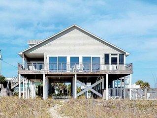 FREE BEACH GEAR! Beachfront, Pets OK, Pool, Screen Porch, Private Boardwalk, 4BR