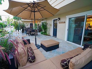 April $199 Special! 1 Block to Beach with A/C,  Large Private Patio & Garage