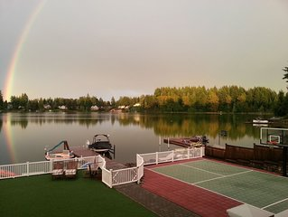Live the Dream On Long Lake! Boating, Fishing, Swimming Paradise w/Sports Court!