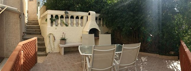 terrace in panoramic view with access from the private parking and barbecue