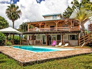 T2 Creole dans la Kasa vanille, piscine et calme, rez de villa