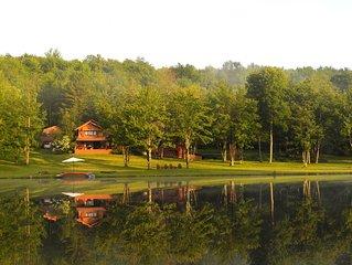 'Spruce Lake Farm' 56-acre log home estate on private 7-acre lake in Catskills.