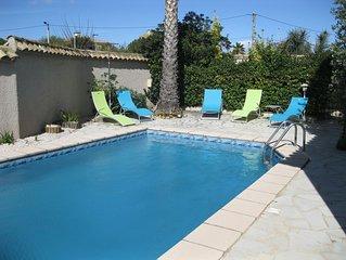 15mn des plages!villa avec piscine privée, 6 personnes ,wifi,au calme
