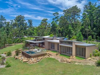 Contemporary designed home, tranquil on private acreage  with spa pool
