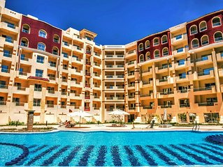 (I)One-bedroom apartment on the Red Sea in Hurghada with pool and beach