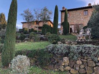 Beautiful house near San Gimignano in Tuscany with views, pool,garden, A/C, WiFi