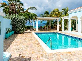 Oceanfront Villa, private pool, gazebo, great diving and snorkeling steps away
