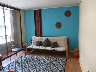 Practico, acogedor, comodo y central departamento para dos personas en Santiago.