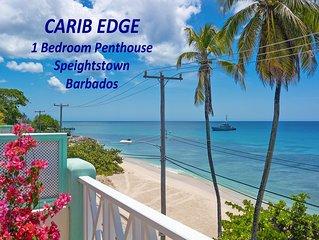 Beachfront penthouse, Speightstown, stunning West Coast, full AC, near amenities