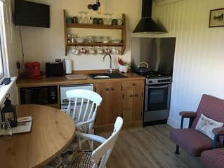 SHEPHERD'S HUT (DELUXE). Beautiful 1 bedroom, with patio, ideal for couples.