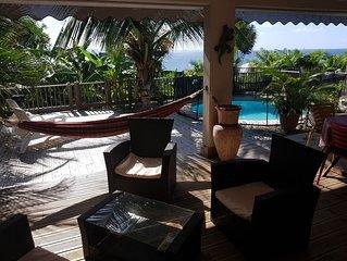Un petit coin de paradis, villa avec terrasse et vue imprenable sur les Caraibes