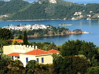 Peaceful Skiathos, delightful villa ideal for 6-8; pool, garden, stunning views