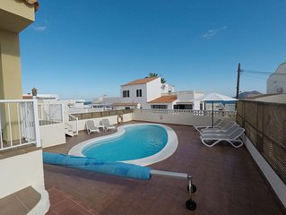 Family Villa with heated pool, 50 metres from the sea front with fantastic views