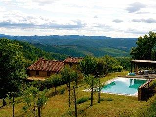 Villa on Chianti hill in heart of Tuscany, super-large pool, 14 ha plot
