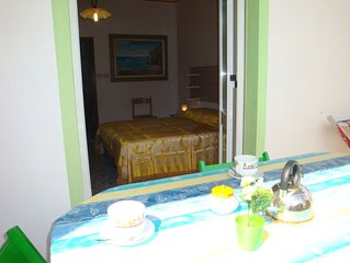 Appartamento con 1 aria-condizionata. WI-FI. 400 metri dal mare-monti. Pineta.
