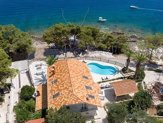 Beach front villa Puntinak for up to 14 people private pool Beachfront