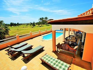 Beautiful villa with pool and views to sea and golf course